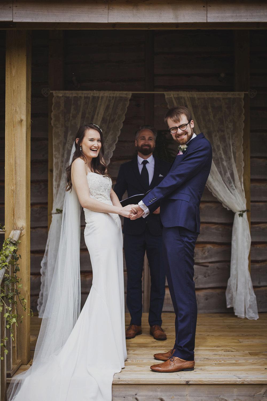 just married at cott farm barn wedding venue somerset