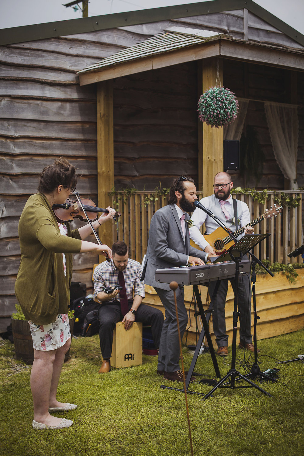 worship band at wedding ceremony at cott farm barn wedding venue somerset