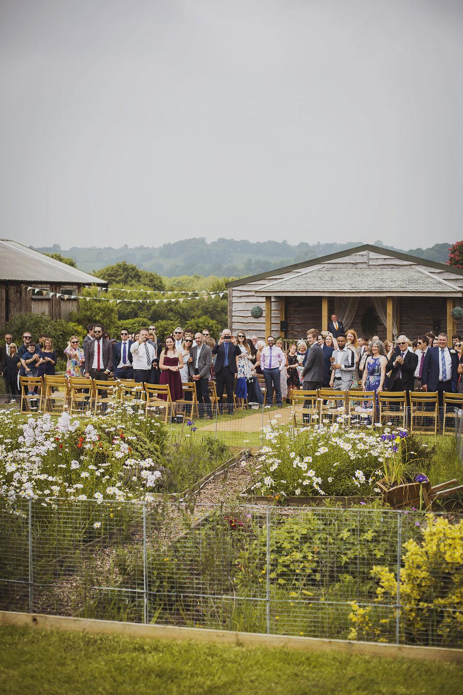 wedding ceremony at cott farm barn wedding venue somerset