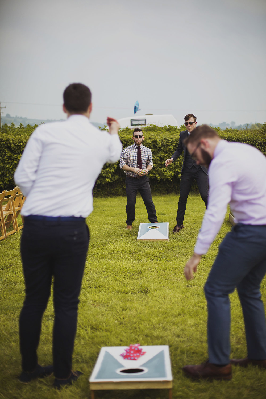 outdoor games at wedding at cott farm barn wedding venue somerset
