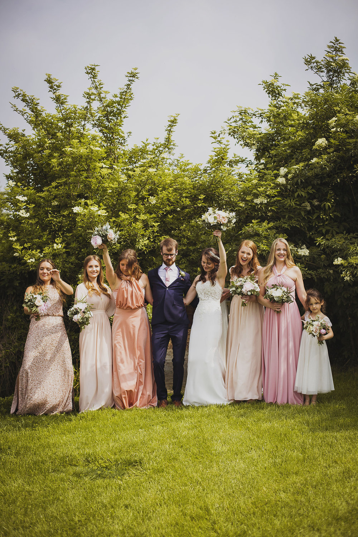 group photos at cott farm barn wedding venue somerset