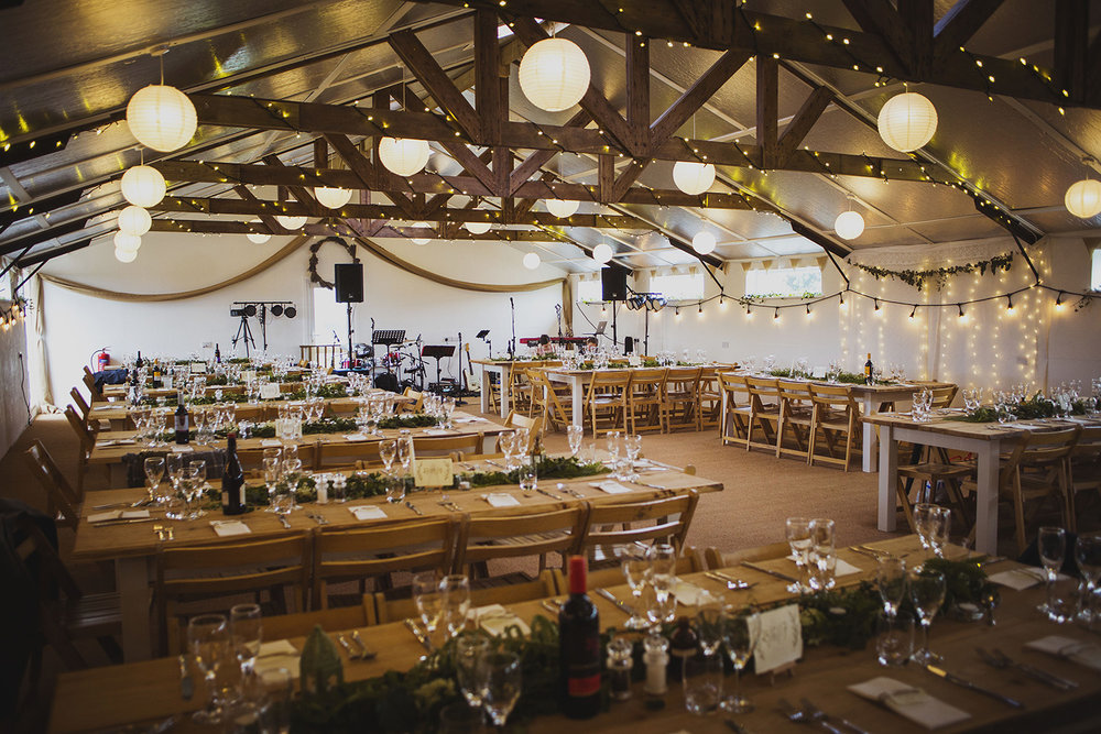 wedding breakfast at cott farm barn wedding venue somerset