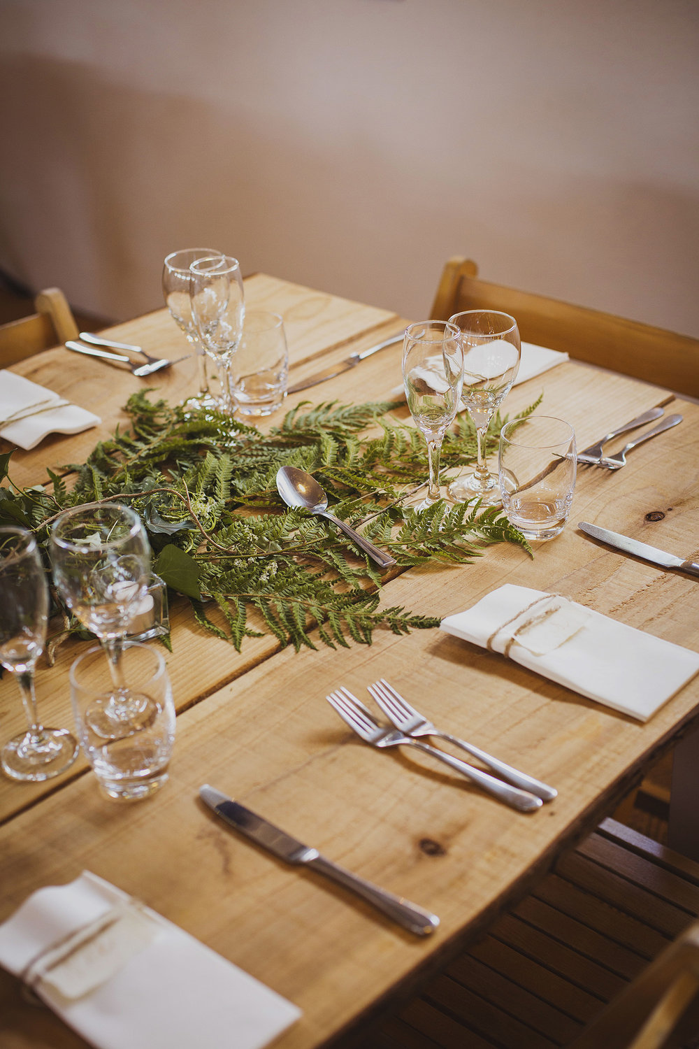 table decorations at cott farm barn wedding venue somerset