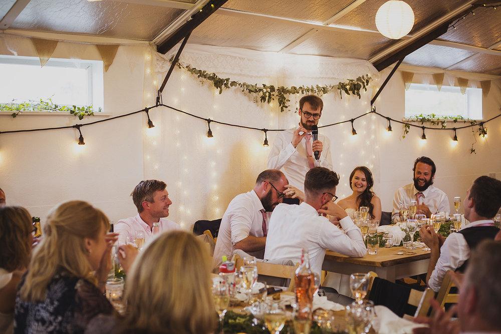 groom speech at cott farm barn wedding venue somerset