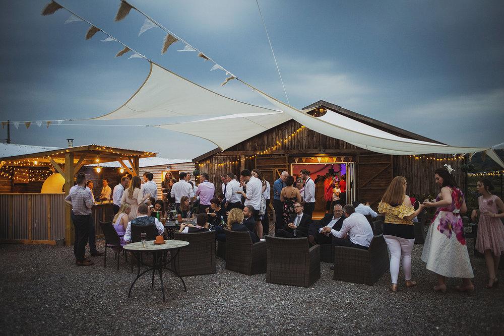 reception at cott farm barn wedding venue somerset