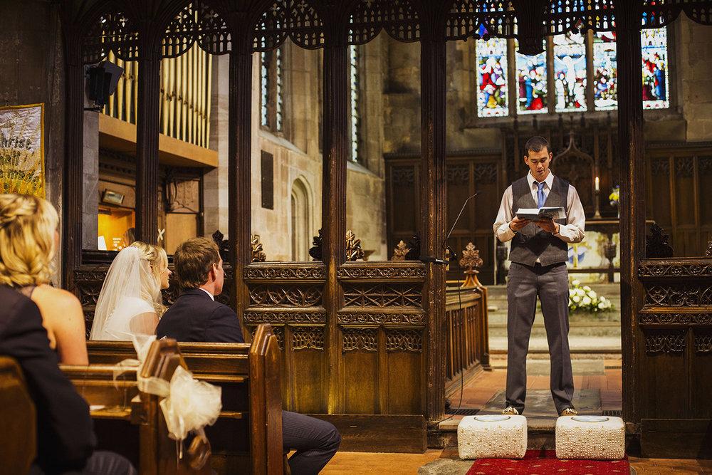 reading at wedding ceremony at knowle parish church