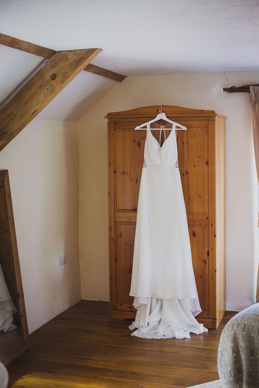 dress hanging nantwen wedding photography
