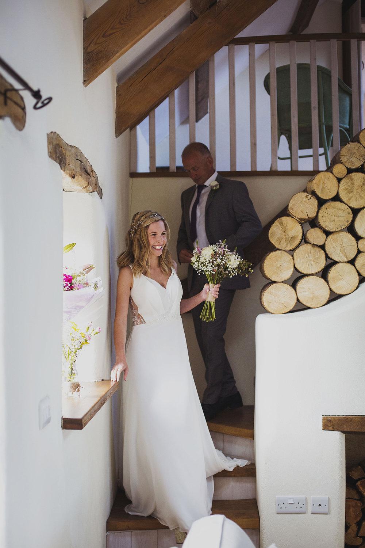 bride walking down stairs at nantwen
