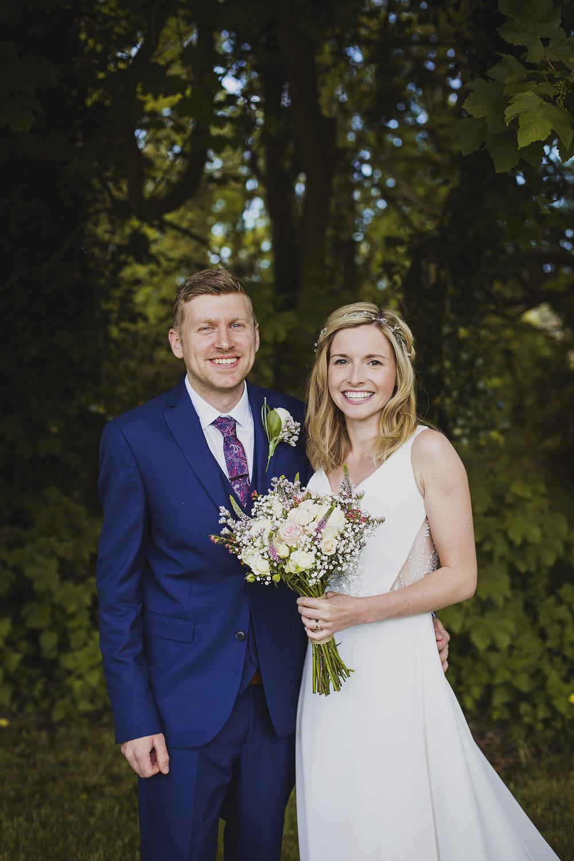 bride and groom at nantwen wedding