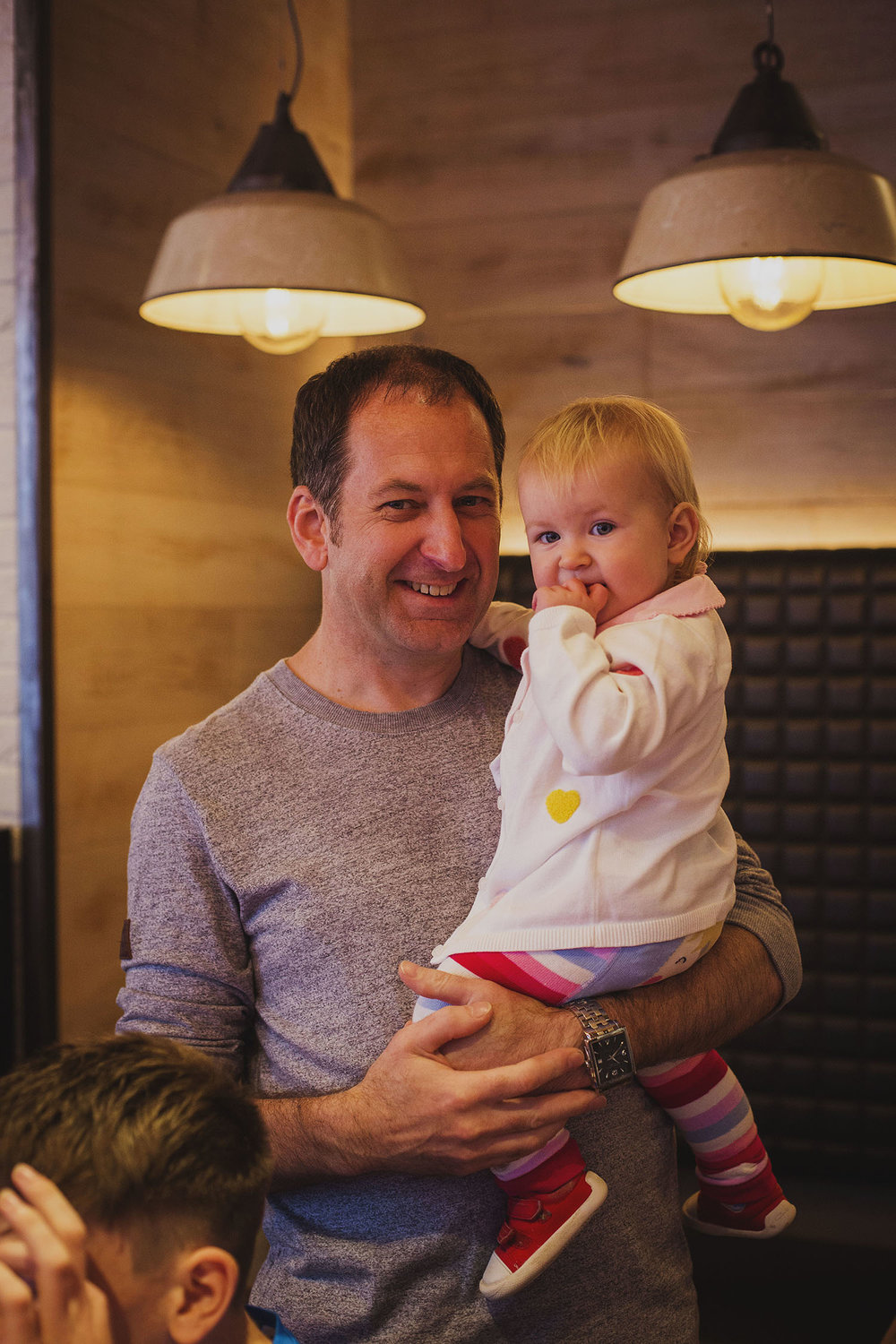 groom with daughter breakfast duck and waffle london corinthia hotel wedding photographer
