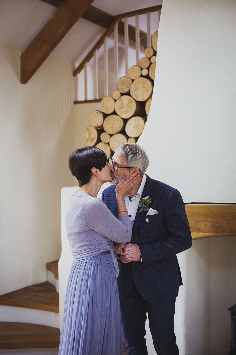 first kiss wedding ceremony in cottage at nantwen wedding photographer pembrokeshire wedding photography