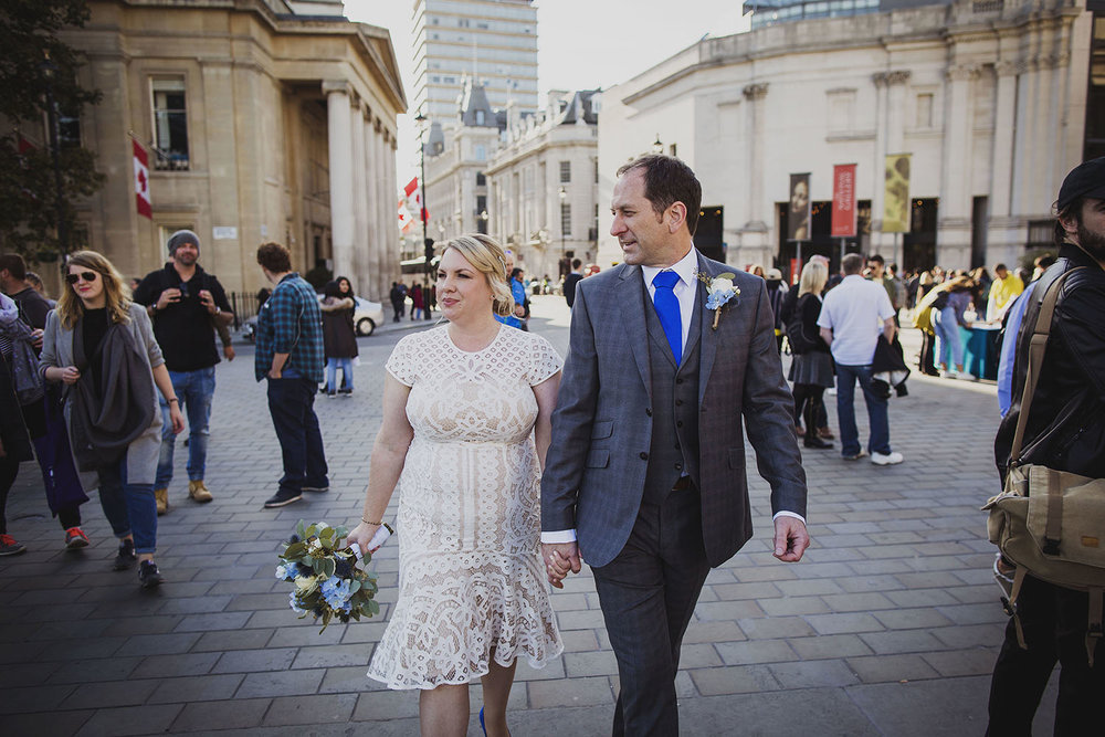 bride and groom portraits trafalgar square london wedding photographer