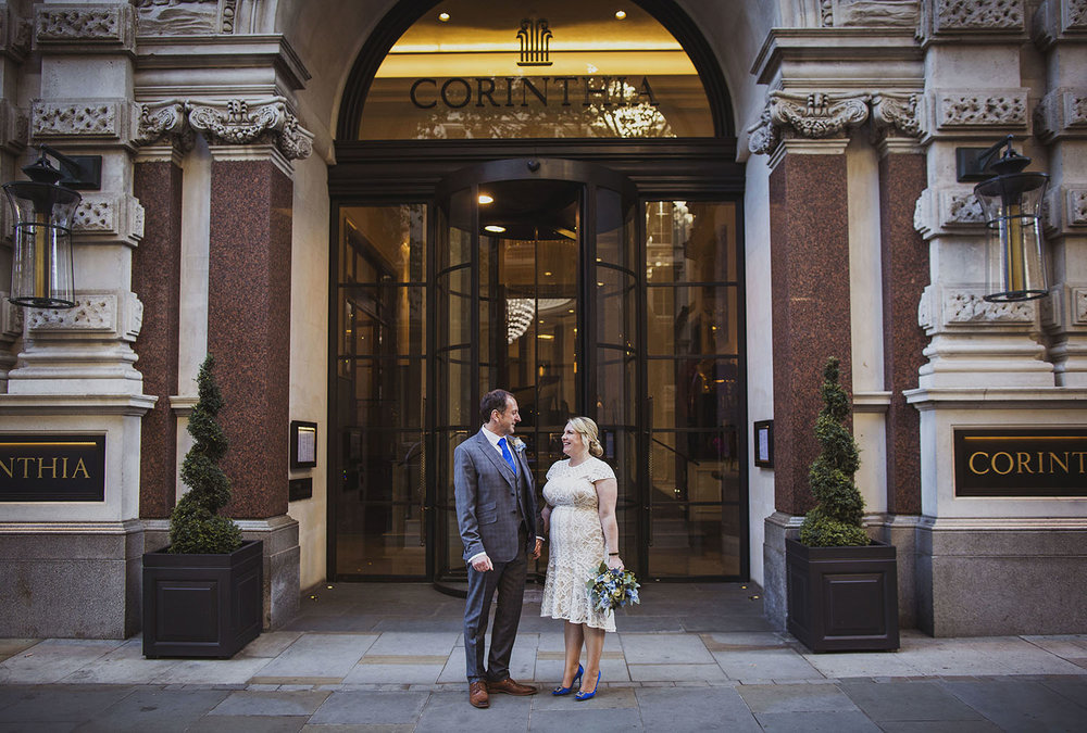 bride and groom portraits corinthia hotel london wedding photographer