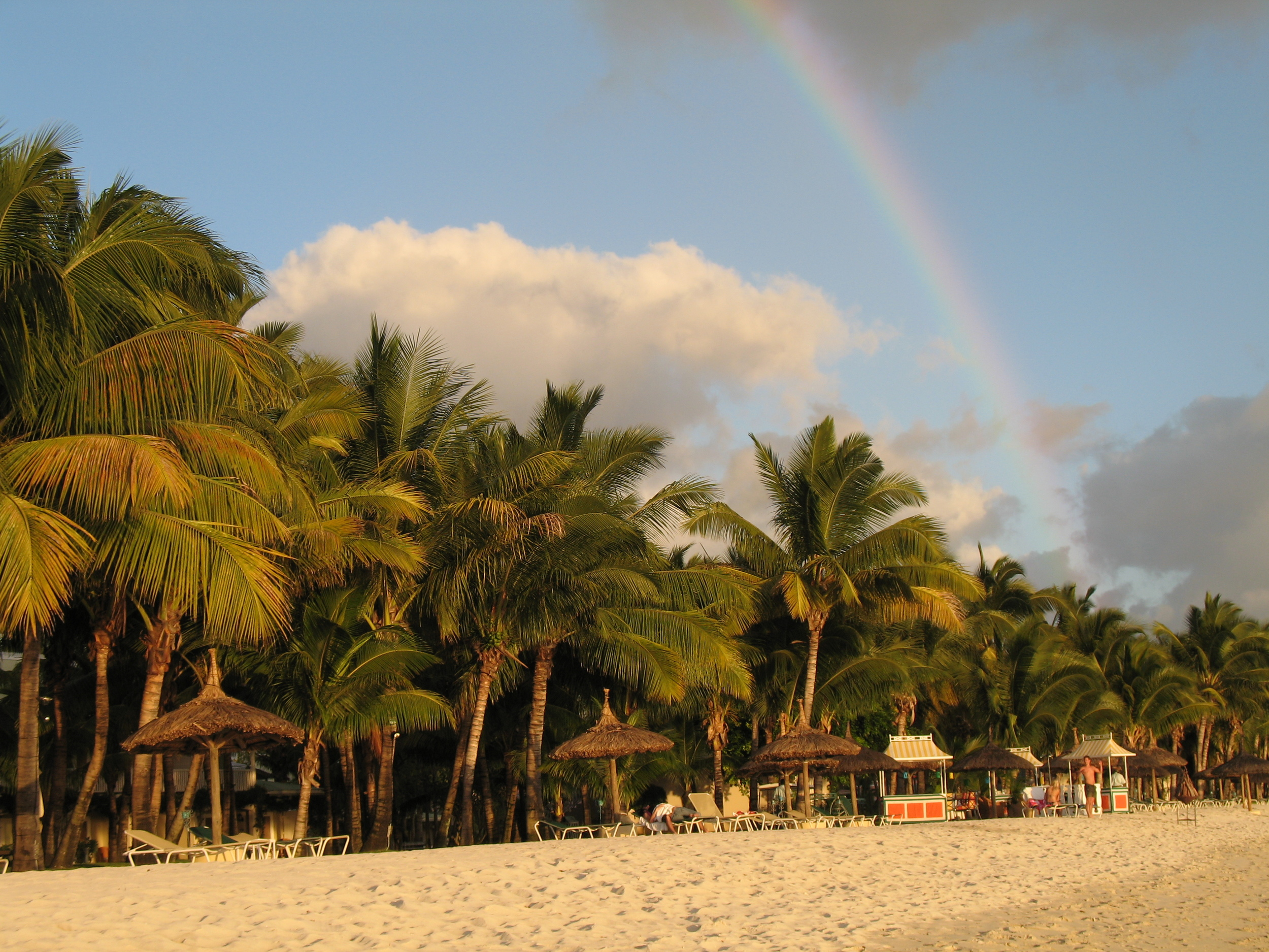 A rainbow over the beach in Mauritius. Pic by @jabberingjourno