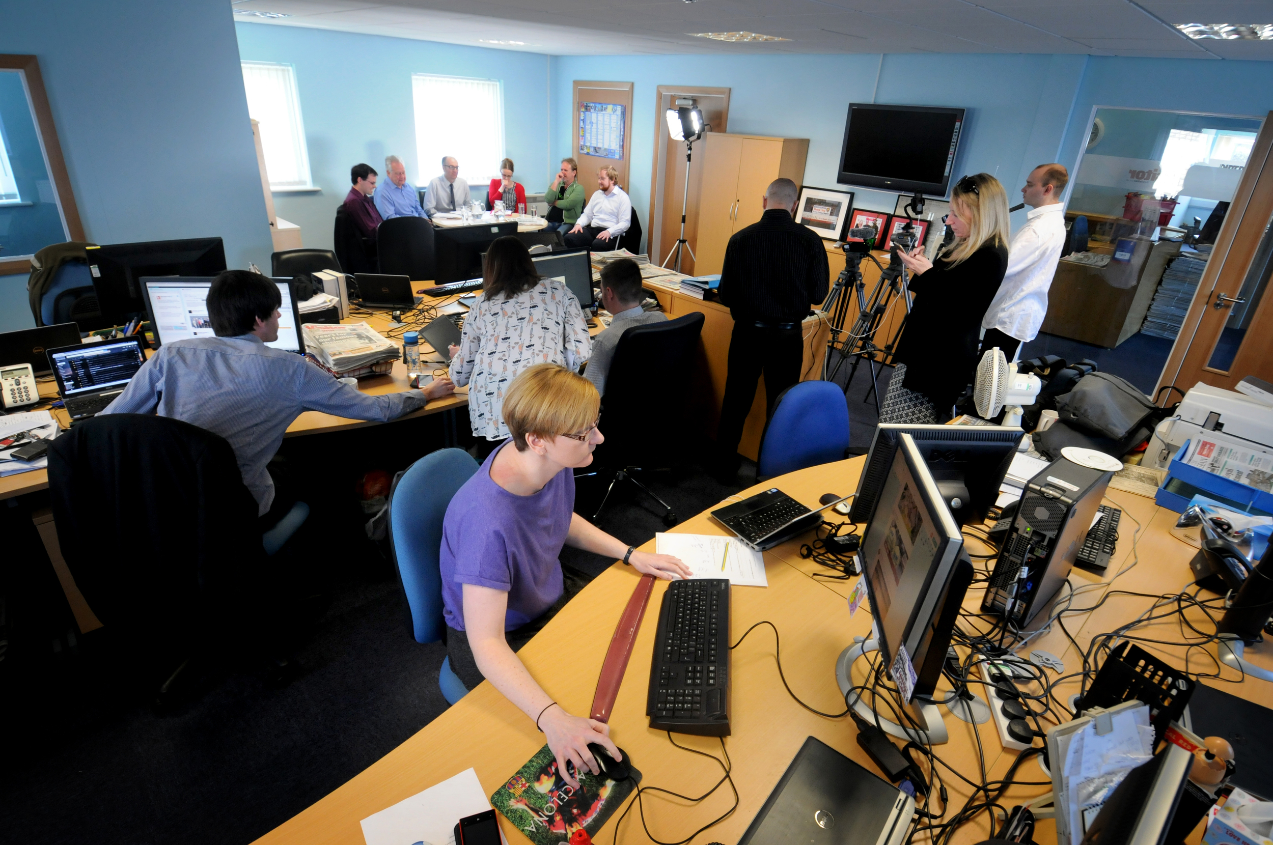 The team at work during debate. Pic copyright Johnston Press. Must not be copied or replicated without permission.  Click picture for link to story at lancasterguardian.co.uk