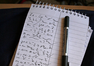 A shorthand notepad.