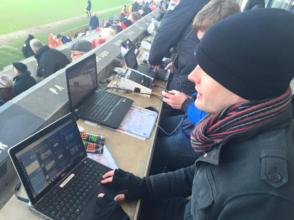 News and sport reporter Adam at a cold football ground (still the best job ever) Pic by @jabberingjourno