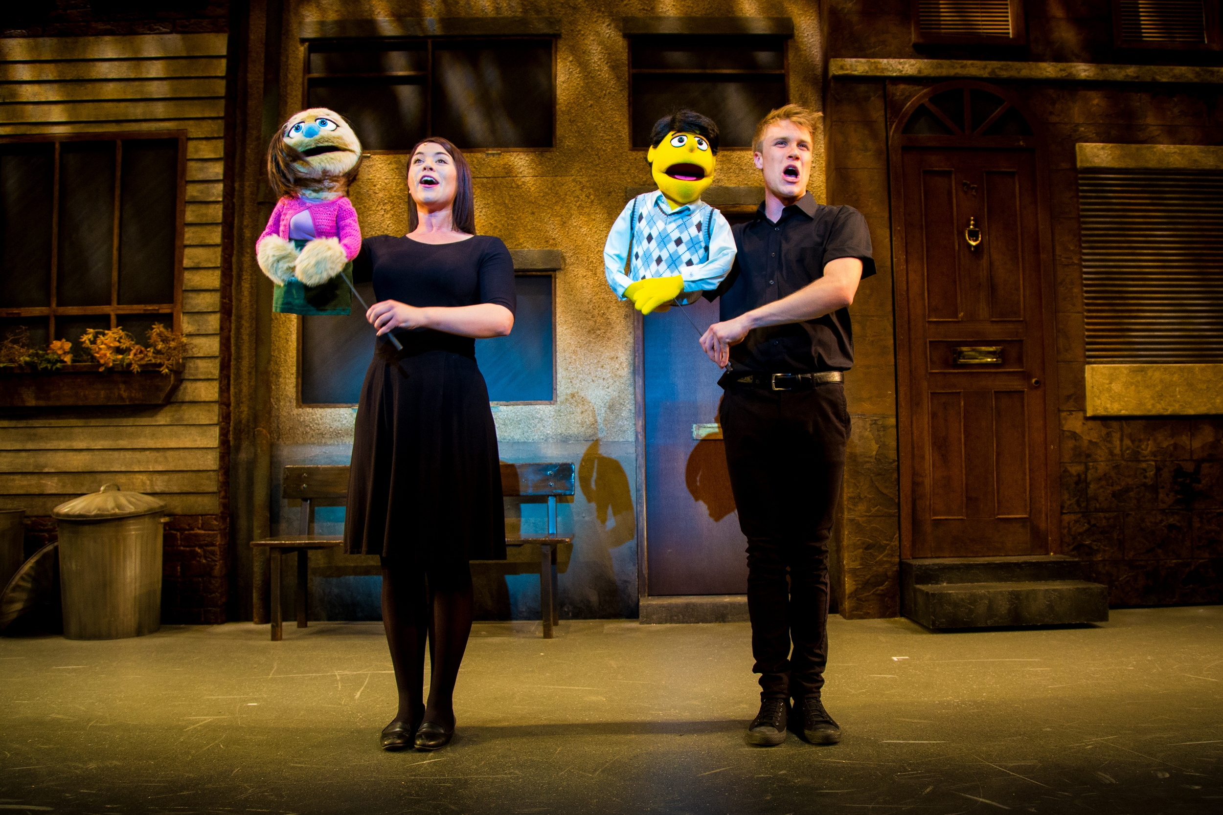 Sarah Harlington and Richard Lowe as Kate Monster and Princeton in Avenue Q