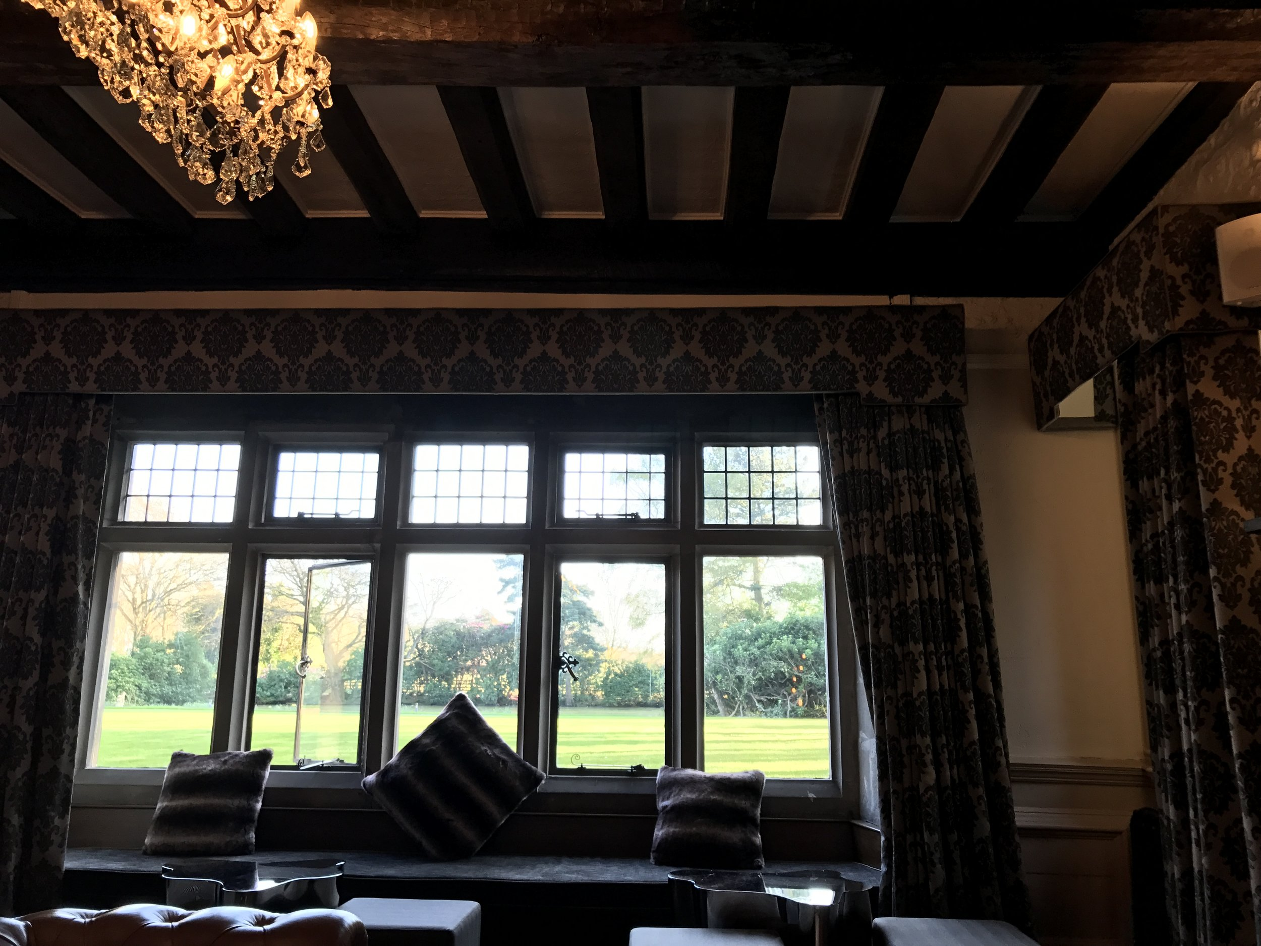 View from Jacobean lounge into gardens