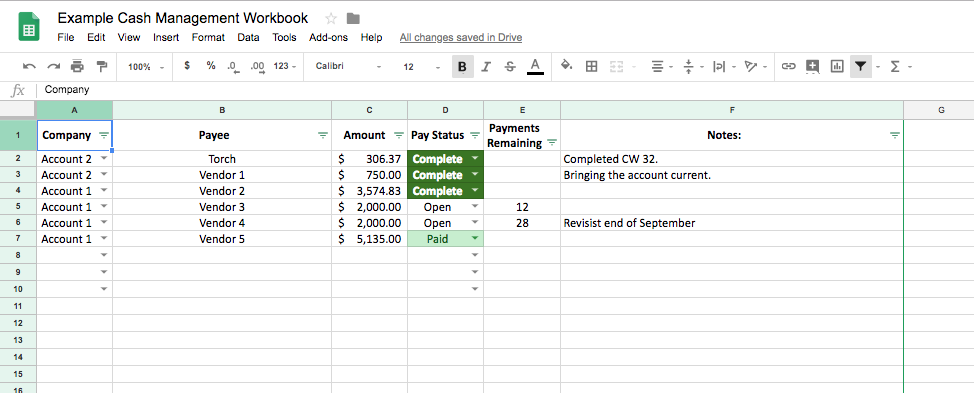 When cash gets tight, it's not uncommon to need to negotiate structured payment plans to bring certain accounts back into terms. Pictured here is a place to track payment agreements made with vendors.
