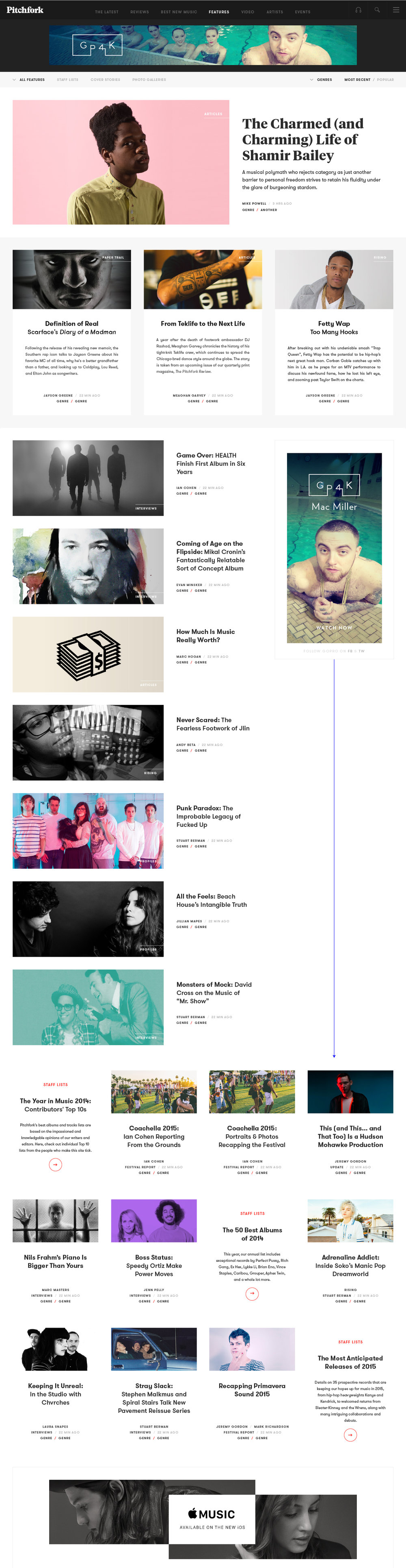 Pitchfork Website Redesign — Features Collection Page