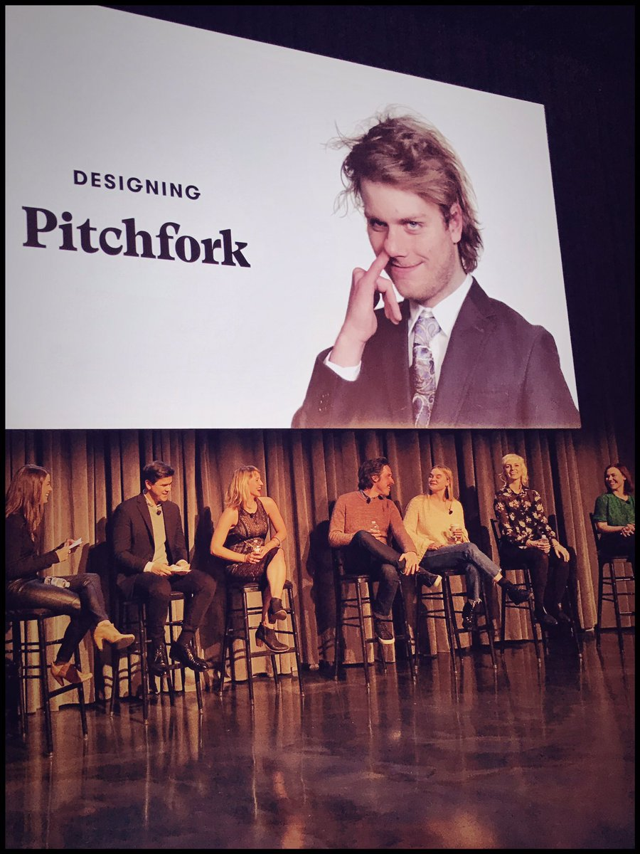 "Speaking (and giggling) with my fellow designers at  ""An Evening with Pitchfork""  — a special CreativeMornings Chicago event at the Museum of Broadcast Communications. 12/6/16"