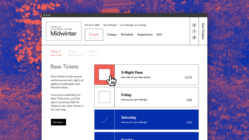 Midwinter — Project Story Draft - Simplifying the uniquely complex ticketing system for the inaugural wintertime event held by Pitchfork and the Art Institute of Chicago in February 2019.