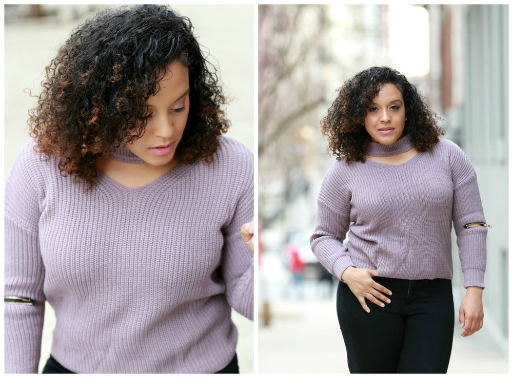 Romwe sweater with choker detail, by style blogger Miriam Morales