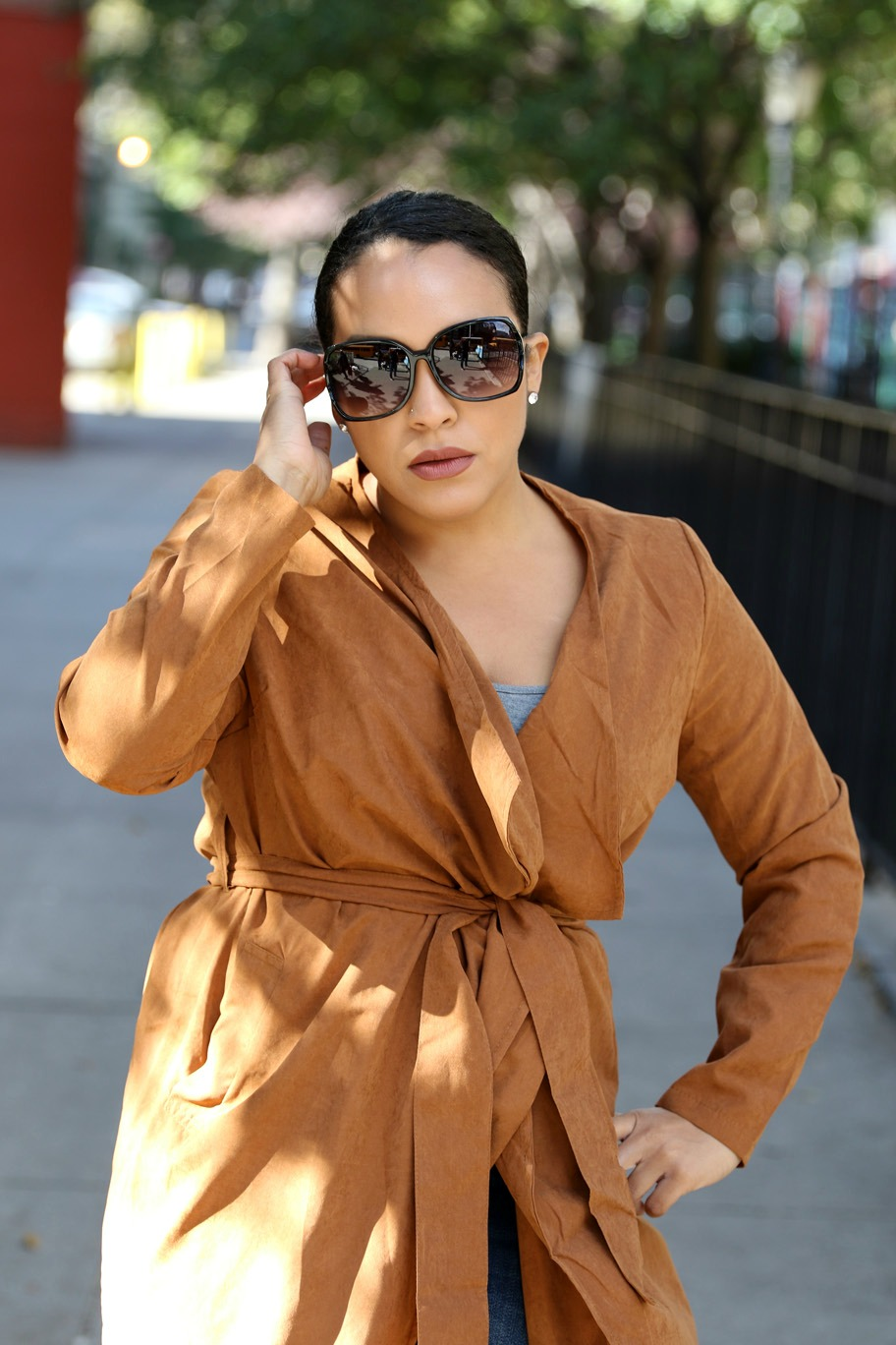 Camel wrap coat fall outfit - NYC style blogger Miriam Morales