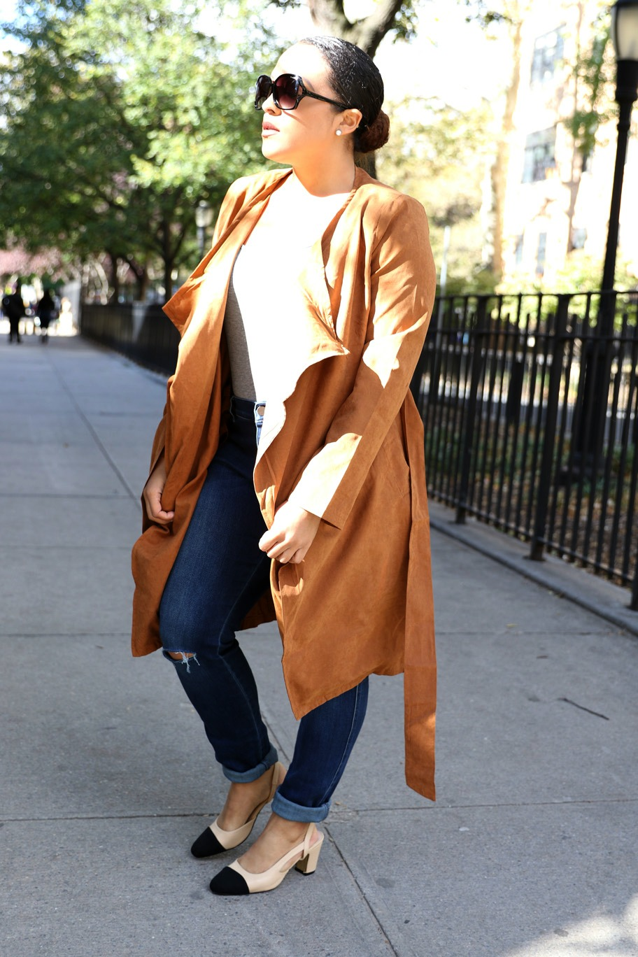 camel belted wrap coat, Chanel two-tone slingbacks look for less - Miriam-Morales