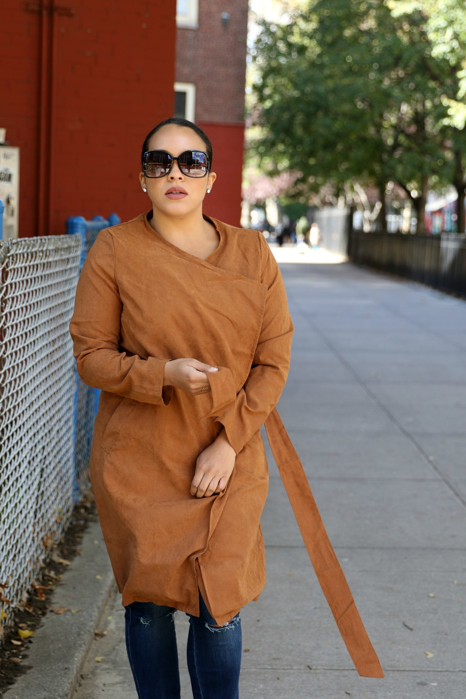 how to style long wrap jacket outfit - NYC affordable style blogger Miriam Morales