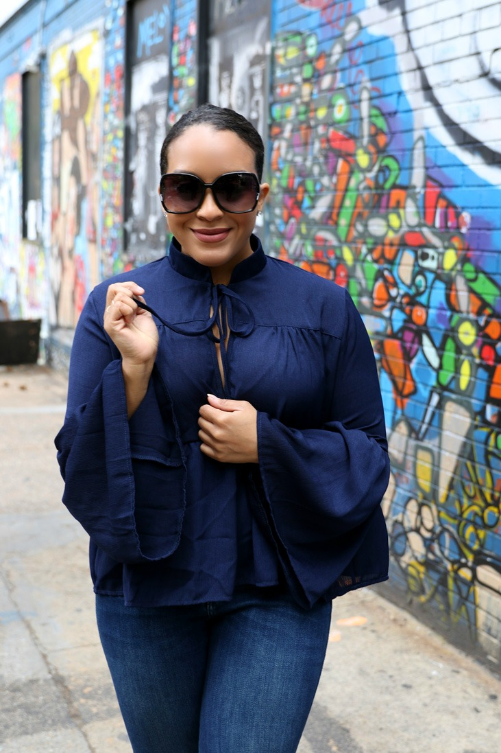 bell sleeve lace up top, statement sleeves - NYC style blogger Miriam Morales