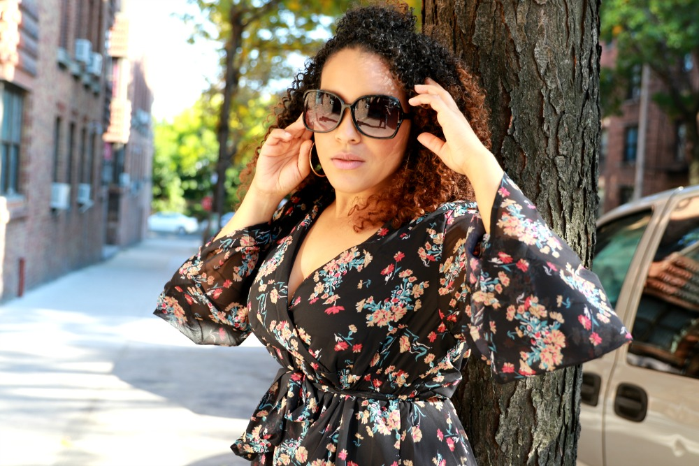 how to style black floral print dress, hands on hair - style blogger Miriam Morales
