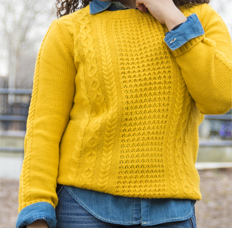 double denim and yellow honeycomb sweater