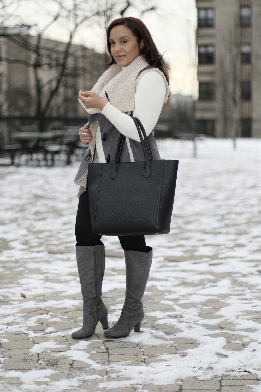 faux suede shearling vest