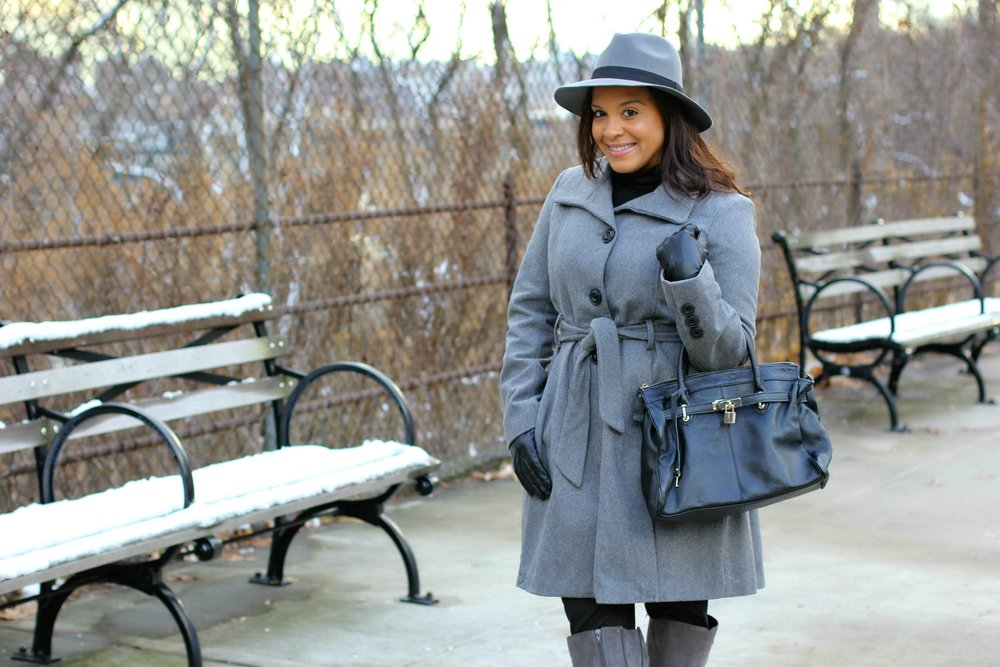 gray coat & gray boots
