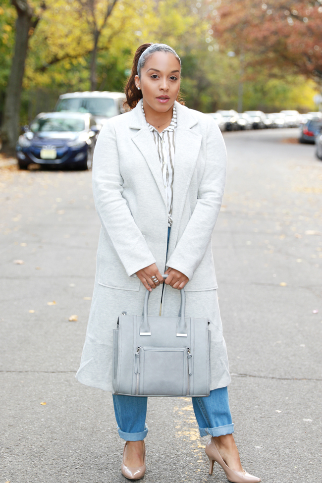 how to wear gray long coat