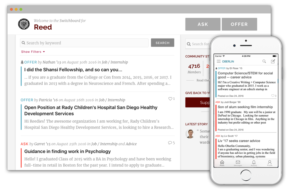 Alumni engagement platform