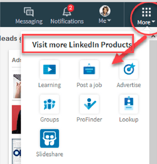 LinkedIn groups hidden in dropdown menu