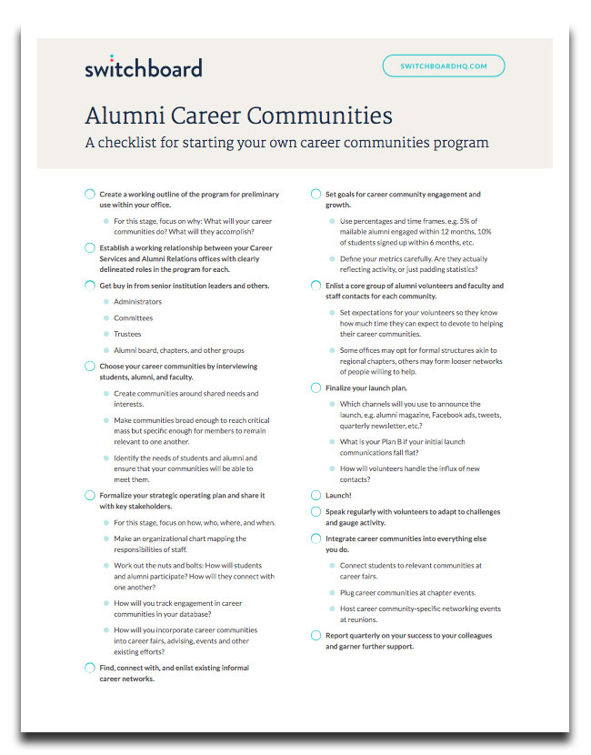 Alumni Career Communities Checklist