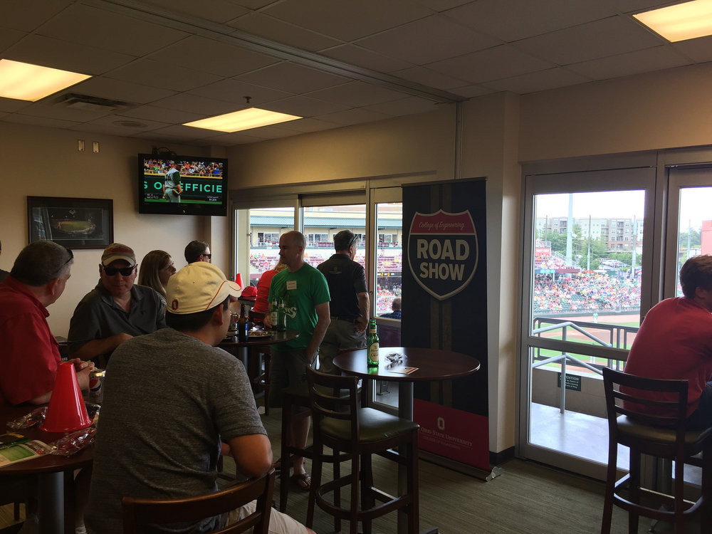 A 2017 Dean's Road Show event at a baseball game in Dayton.