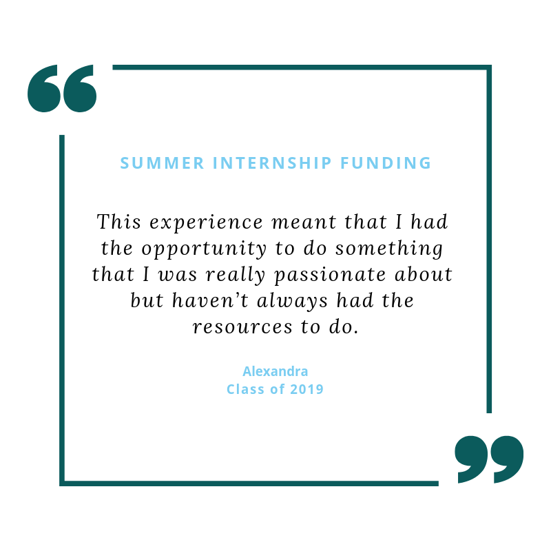 Michelle's work helps her advancement team fundraise to support summer internship funding for U of R students like Alexandra '19.