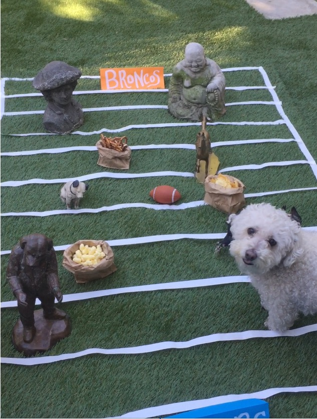 this is our future tablescape for the dining room table! We used masking tape for the yard lines and made team signs. Some of our Figurines from around the house snuck in there as well as mister's favorite toy: his football!