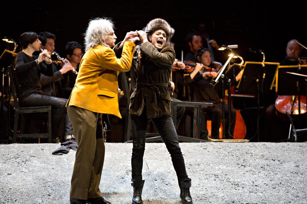 Bubikopf  (Der Kaiser von Atlantis)   Opéra de Lyon, Lyon, France 2016  with Mikkel Skorpen, tenor  photo Jean-Louis Fernandez