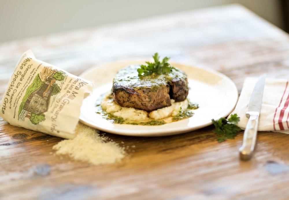 Pork Porterhouse | Pressure-Cooked Grits | Chimichurri