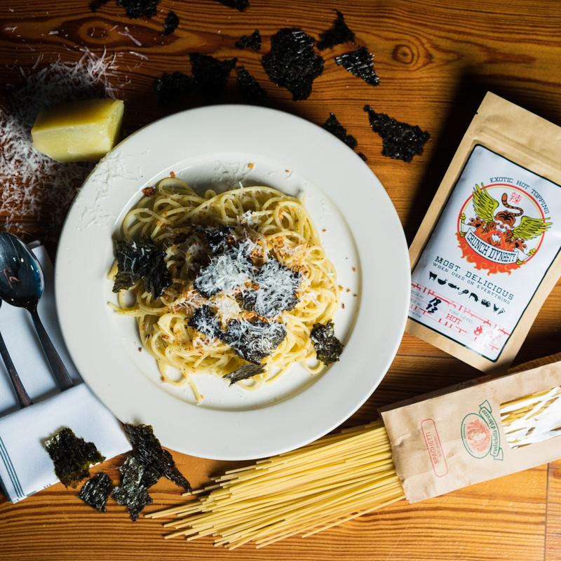 Spiced Spaghetti | Nori | Pecorino | Crunch Dynasty