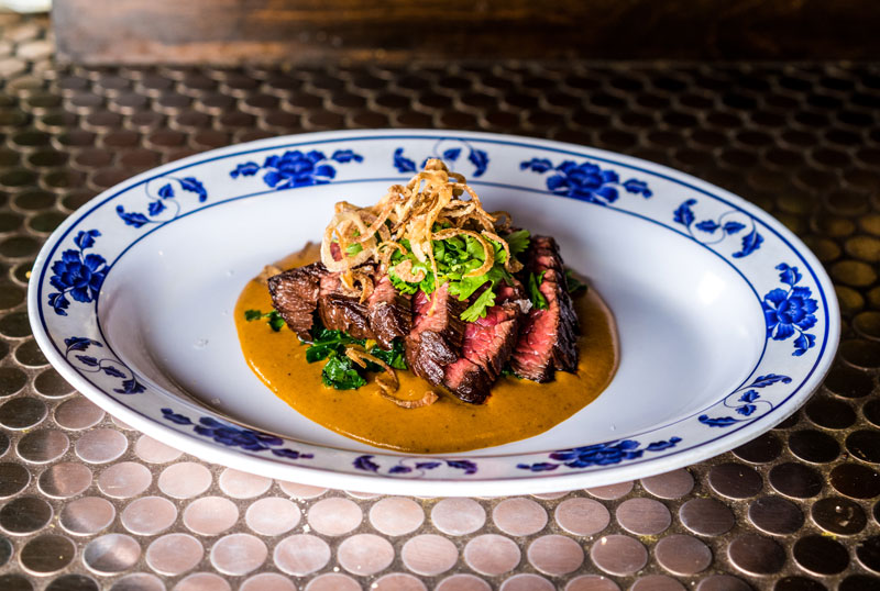 Hanger Steak | Blistered Kale | Coconut Curry | Cilantro