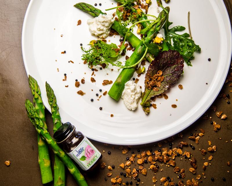 Grilled Asparagus | Sprouted Grain Granola | Ricotta | Pistachio Vinaigrette