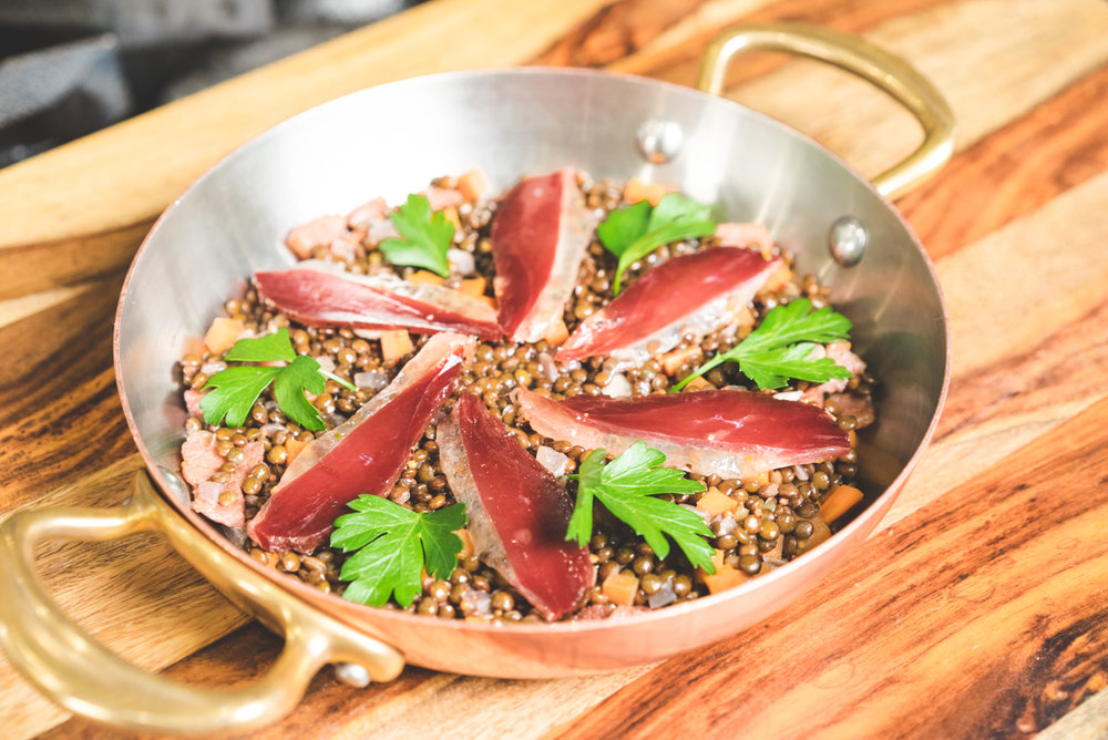 Brown Lentils | Duck Prosciutto | White Wine | Mirepoix