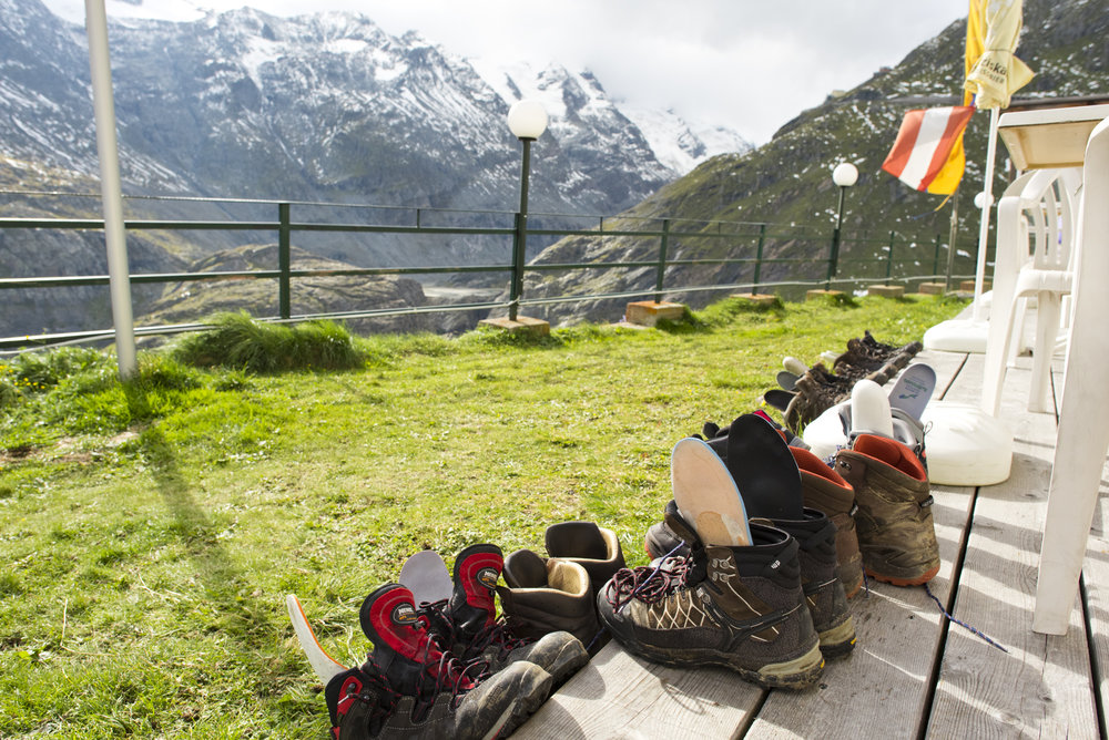 Hiking boots dry outside of a hotel on the Grossglockner